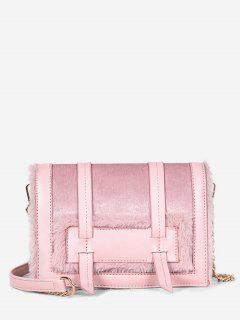 Solid Faux Fur Chic Crossbody Bag - Light Pink