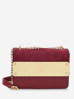 Color Block Metal Chic Crossbody Bag - Chestnut Red
