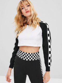 Raglan Sleeve Checkered Cropped Sweatshirt - White M