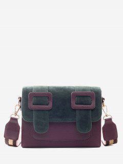 Bucket Design Color Block Crossbody Bag - Dull Purple
