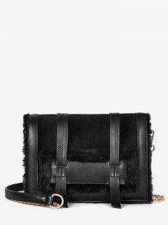 Solid Faux Fur Chic Crossbody Bag - Black