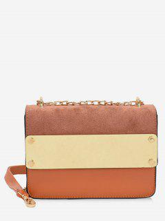 Color Block Metal Chic Crossbody Bag - Brown