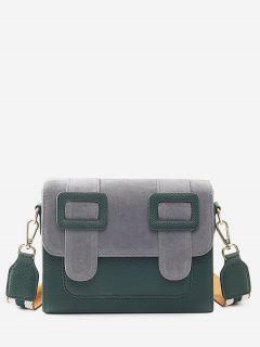 Bucket Design Color Block Crossbody Bag - Sea Green