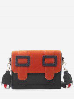 Bucket Design Color Block Crossbody Bag - Black