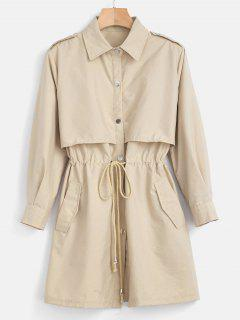 Lightweight Drawstring Trench Coat - Blanched Almond M