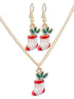 Christmas Socks Rhinestone Alloy Jewelry Set - Multi