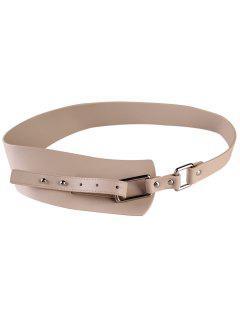 Metal Buckle Artificial Leather Wide Waist Belt - Apricot