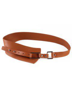 Metal Buckle Artificial Leather Wide Waist Belt - Rust