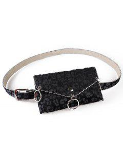 Punk Leopard Print Fanny Pack Belt Bag - Black