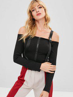 Cold Shoulder Zip Up Top - Black M