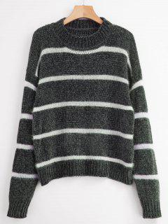 Striped Velvet Loose Sweater - Gray