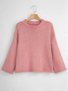 Wide Sleeve Drop Shoulder Sweater - Pink
