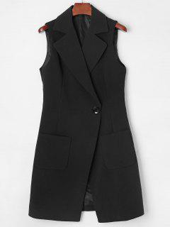 Lapel Long Pocket Waistcoat - Black L