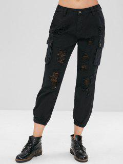 Distressed Side Pocket Jogger Jeans - Black M