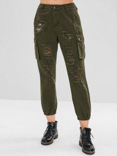 Distressed Side Pocket Jogger Jeans - Bundeswehrgrün S