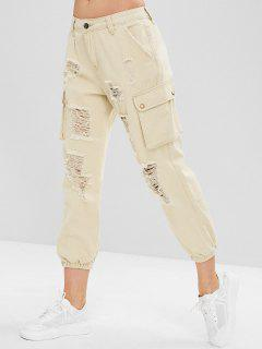 Distressed Side Pocket Jogger Jeans - Warm White S