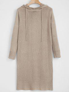 Long Sleeve Hooded Sweater Dress - Camel Brown L