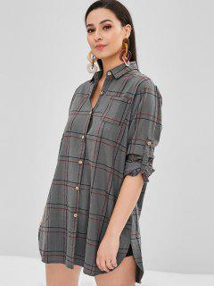 Cuffed Sleeves Plaid Pocket Dress - Gray