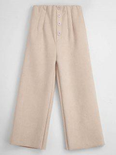 Raw Cut Faux Suede Wide Leg Pants - Blanched Almond M