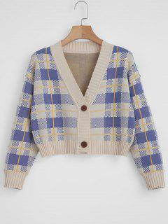 Checked Cropped Cardigan - Multi L