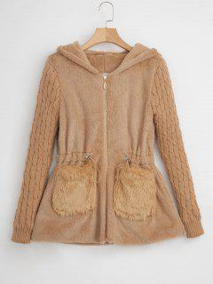 Cable Knit Sleeve Hooded Faux Fur Coat - Camel Brown M