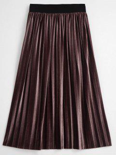 Velvet Accordion Pleated Midi Skirt - Eggplant S