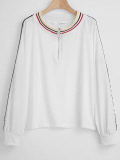 O Ring Striped Zipped Jersey Sweatshirt - White