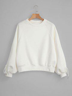 Raglanärmel Faux Wildleder Sweatshirt - Weiß
