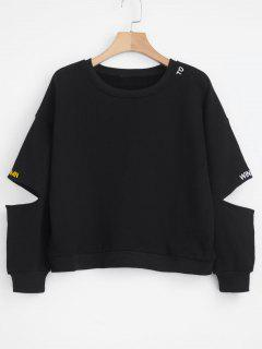 Slashed Sleeve Embroidered Sweatshirt - Black