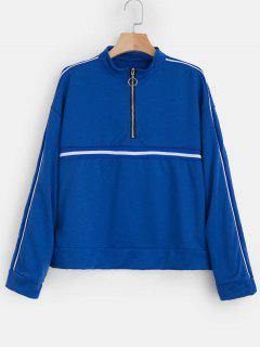 Quarter Zip Striped Pullover Sweatshirt - Blue