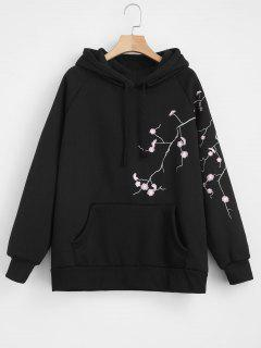 Floral Embroidered Pouch Fleece Hoodie - Black