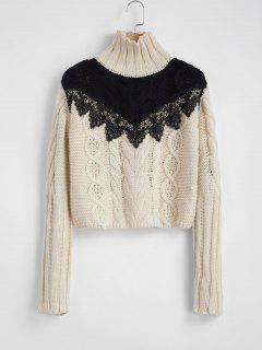 Contrast Yoke Cable Knit Turtleneck Sweater - Beige L