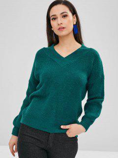 Lantern Sleeves V Neck Sweater - Greenish Blue