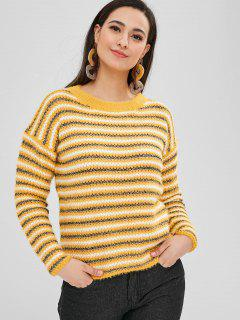 Loose Fit Striped Sparkle Sweater - Bright Yellow