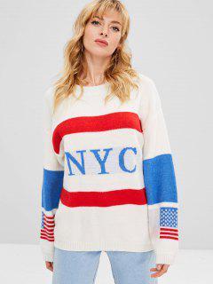 Suéter Con Gráfico De Bandera Americana En Contraste - Multicolor
