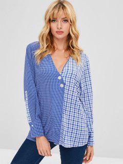 Blusa Plisada De Gasa Con Abertura - Azul Cristal S