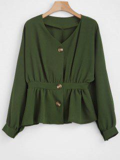 Dolman Button Up Defined Waist Top - Army Green M