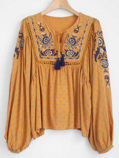 Balloon Sleeve Embroidered Peasant Top - Orange Gold S
