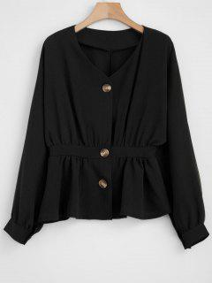 Dolman Button Up Defined Waist Top - Black Xl