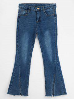 Zipper Slit Boot Cut Jeans - Cobalt Blue Xl