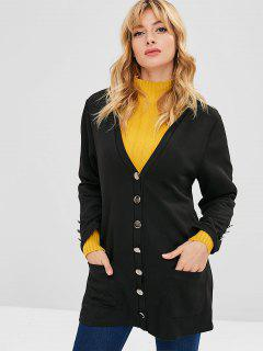 Low Cut Tunic Coat With Pocket - Black S