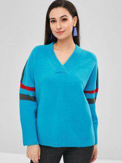 Suéter A Rayas Con Cuello En V Suelta - Cielo Azul Oscuro