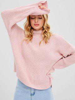 Slash Neck Schlitz High Low Pullover - Helles Rosa