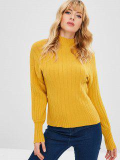 Drop Shoulder High Neck Pullover - Goldgelb