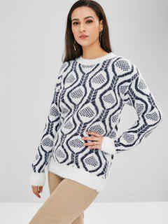 Graphic Pattern Crew Neck Sweater - White