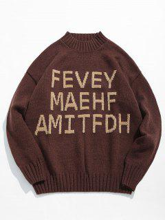 High Neck Letter Printed Pullover Sweater - Coffee 2xl