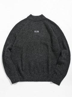 Suéter De Impresión De La Letra Del Cuello Alto Suéter - Gris Pizarra Oscuro L