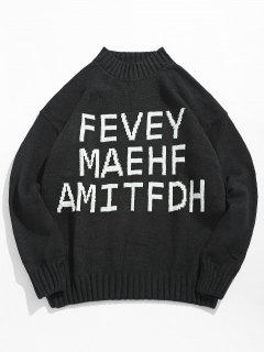 High Neck Letter Printed Pullover Sweater - Black M