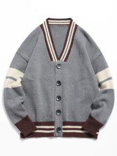 Button Fly Color Spliced Kintted Cardigan - Gray 2xl