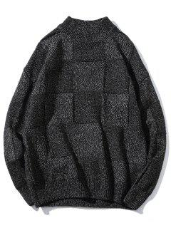 High Neck Abstract Grid Weave Sweater - Black Xs